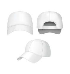 realistic 3d white baseball cap set vector image