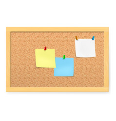 realistic corkboard with pushpins and blank paper vector image