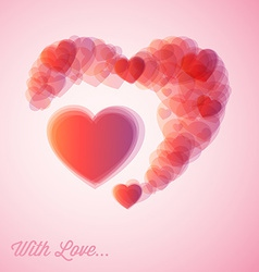 red hearts - Valentines card vector image