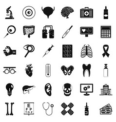 Right diagnostic icons set simple style vector
