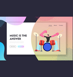 Rock star drummer playing hard music with sticks vector