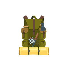 Rucksack or backpack with hiking camping tools vector