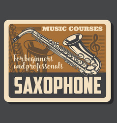 Saxophone musical instruments and treble clef vector