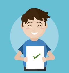 School boy with exam vector