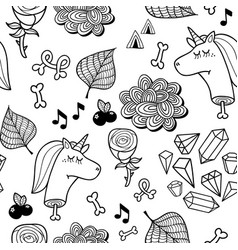 seamless pattern with dead unicorn for coloring vector image