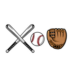 set of baseball equipment contains bat gloves vector image