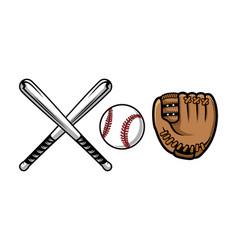Set of baseball equipment contains bat gloves vector