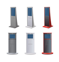set of information kiosks with blank screens vector image