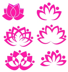Set of lotus flowers vector