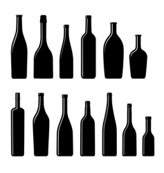 silhouette bottles vector image vector image