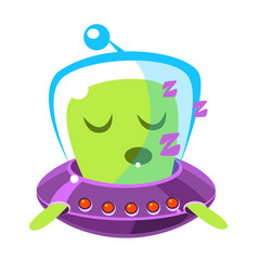 Singing green alien in a flying saucer cute vector