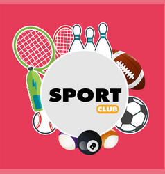 Sport club sport equipment pink background vector