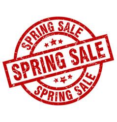 Spring sale round red grunge stamp vector