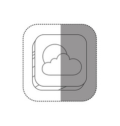 Sticker square silhouette button with contour of vector