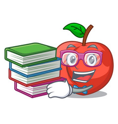 Student with book fruit of nectarine isolated on vector