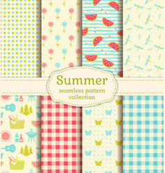 summer picnic seamless patterns set vector image