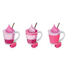 summer raspberry cocktail fruits set fresh vector image