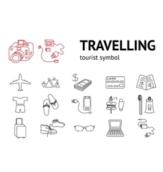 Travel icons set Tourism journey vacation vector
