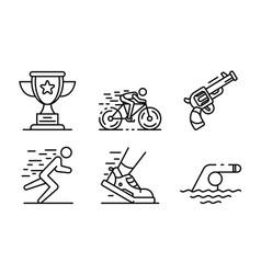 Triathlon icons set outline style vector