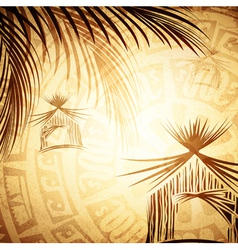 vintage tropic background vector image
