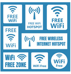 wireless free signs set wifi icons vector image