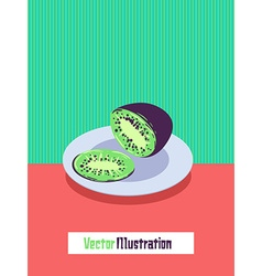 With kiwi sliced on a plate vector