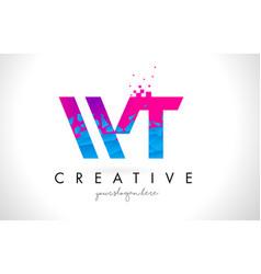 Wt w t letter logo with shattered broken blue vector