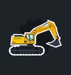 yellow excavator the object circled white outline vector image