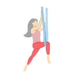 Yoga fly fitness girl in hammock vector
