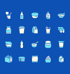 yogurt packaging flat glyph icons dairy products vector image