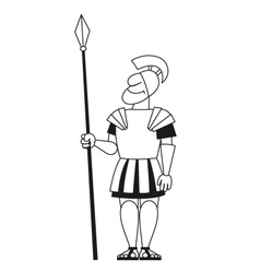 Ancient warrior pikeman BW vector image