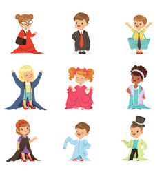 Cute little kids wearing adult oversized clothes vector