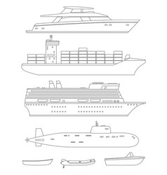 ships and boats line drawings vector image vector image