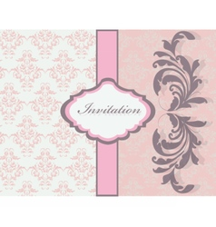 Vintage card with floral damask ornaments vector