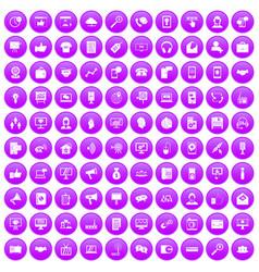 100 help desk icons set purple vector image vector image