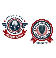 Air Delivery and Hot Air Balloon badges vector image vector image