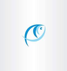 fish logo stylized icon blue design element vector image vector image