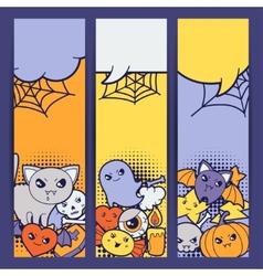 Halloween kawaii vertical banners with cute vector image