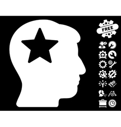 Star Head Icon with Tools Bonus vector image vector image