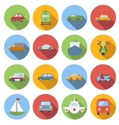 Transportation icons set flat style vector image