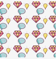 Flat line bubble diamond and bulb pattern vector
