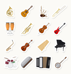 Musical instruments stickers set vector