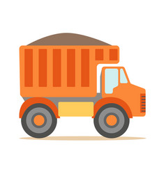 orange truck loaded with gravel part of vector image