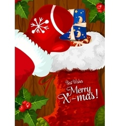 Santa with Christmas sock on wooden background vector image