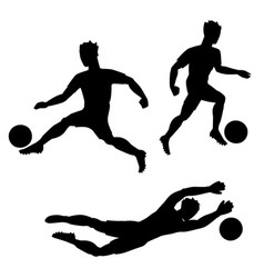 set of soccer players with balls silhouettes of vector image