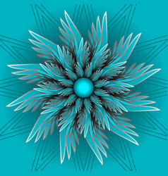 blue fantasy flower in optical art style vector image