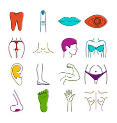 body parts icons doodle set vector image vector image