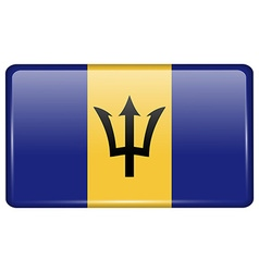 Flags Barbados in the form of a magnet on vector image vector image