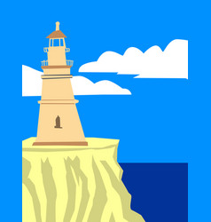lighthouse at seaside vector image vector image
