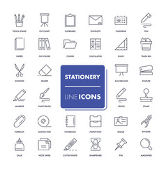 line icons set stationery vector image